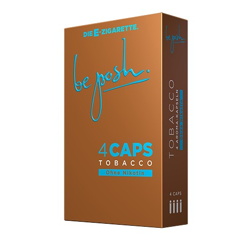 CAPS Tabak Geschmack ohne Nikotin. Eine Packung enthält vier CAPS