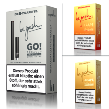 wiederaufladbare E-Zigarette be posh GO! mit CAPS Collection im Set